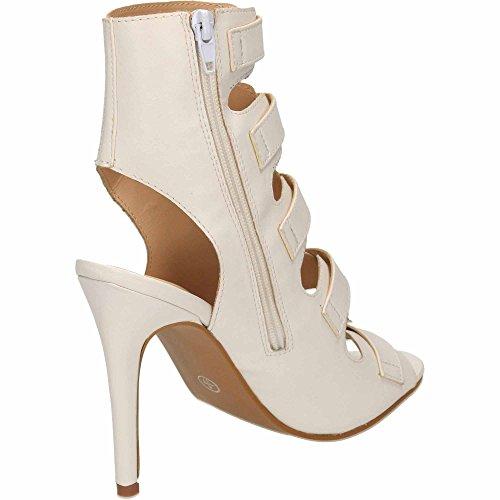 de peep Cut espalda tacón blanco zapatos cuero con abierta tiras alto toe botines estilete Out estilo Jwf PqEdw0P