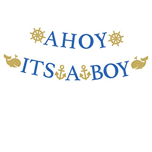 Ahoy Baby Shower (Baby Shower Safari Banner Sign Garland Blue Glitter Letters AHOY IT'S A BOY with Gold Glittery Dolphins Rudders Anchors Navy Theme Party Decorations Supplies Props for Baby &)