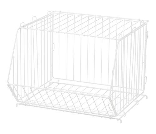 IRIS Modular Wire Stacking Storage Basket, White