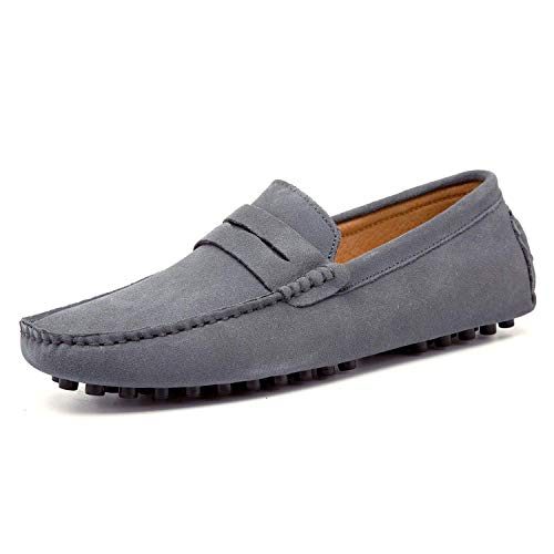 HAPPYSTORE Mens Driving Shoes Penny Loafers Slip On Navy Blue for Men Dress Boat Shoes Suede Leather -