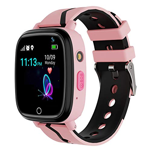 Kids Smart Watch GPS Tracker - Waterproof GPS Tracker Watch for Children Girls Boys with SOS Call Camera Touch Screen Game Alarm for Kids Boys and Girls (Pink)...