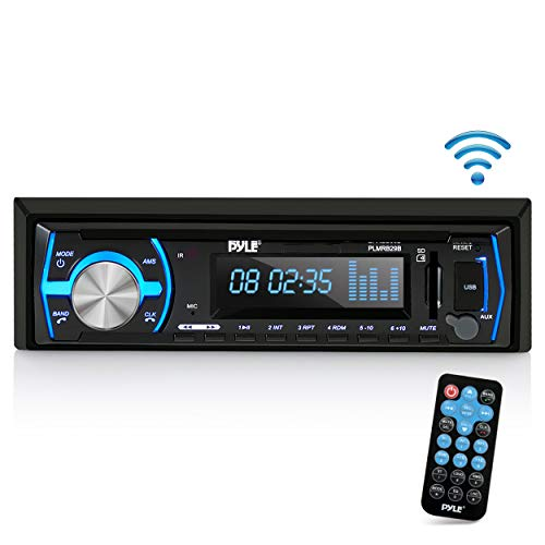 Pyle Marine Bluetooth Stereo Radio - 12v Single DIN Style Boat in Dash Radio Receiver System with Built-in Mic, Digital LCD, RCA, MP3, USB, SD, AM FM Radio - Remote Control - PLMRB29B (Black) (Best Boat Stereo Speakers)