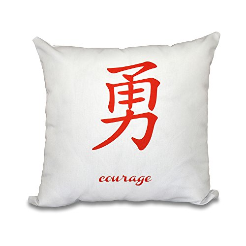 E by design PWN508OR14-16 16 x 16-inch, Courage, Word Print Pillow, 16x16, Orange/Red