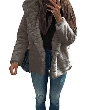 Toamen Giacca Moda Donna Cappotti in Visone Cappotto Invernale con Cappuccio Nuova Giacca Corta in Pelliccia Sintetica Calda Capispalla Spessa