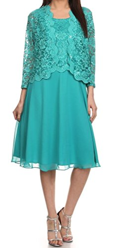 Belle Maids Lace and Chiffon Short Mother's Gown 1336F-BM-JADE-M