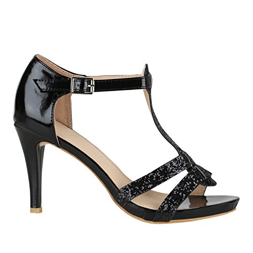 Stiefelparadies Elegante Damen Sandaletten Stiletto High Heels Samt-Optik Party Schuhe Riemchensandaletten Glitzer Metallic Brautschuhe Flandell Schwarz Glitzer Carlet