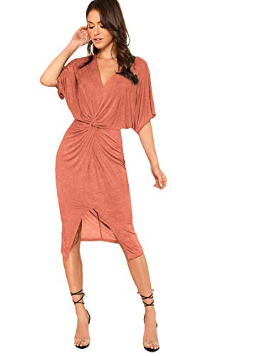Floerns Women's Short Sleeve V Neck Twist Front Split Midi Dress Rust Red L