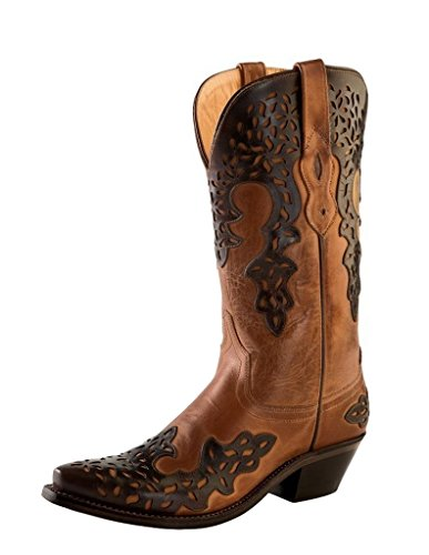 Old West Brown Womens Overlay Leather 12in Fancy Cowboy Boots Boots 9.5 B