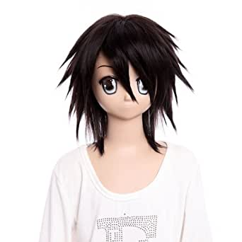 25 ''inch Cosplay Wig DEATH NOTE LLawliet short dark brown wig costume wig cosplay wig for party