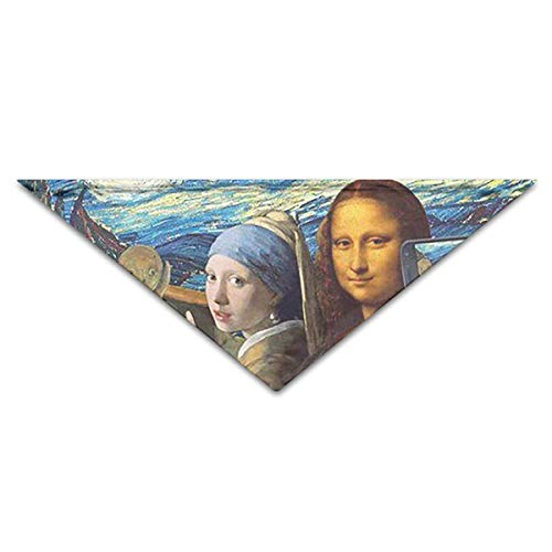 OLOSARO Dog Bandana Mona Lisa Self Timer Triangle Bibs Scarf Accessories for Dogs Cats Pets Animals ()