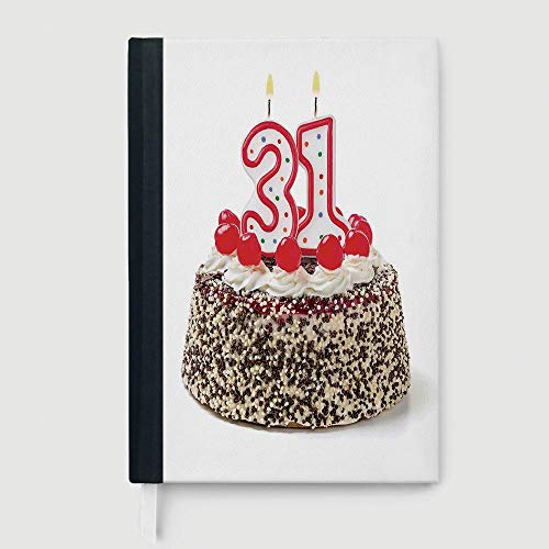 Classic Retro Hardcover Business Student Notebook,31st Birthday Decorations,Business Notepad Daolin Paper,Cake Thirty One Candles Chocolaty Desert Cherries Surprise Event,96 Ruled Sheets,A5/8.24x5.73