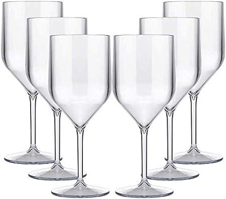 TUNDRA ICE INTERNATIONAL 6 Piezas Croisiere 25 Cl en Policarbonato (Plástico Rígido), Copas de Vino 100% Italian Design, Vasos Irrompibles, Reutilizables y Aptos para Lavavajillas, Transparente