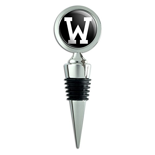 Letter W Initial Black White Wine Bottle Stopper ()