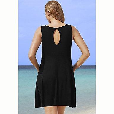 PU&PU Robe Aux femmes Trapèze / Ample Sexy / simple,Couleur Pleine Col Arrondi Au dessus du genou Coton , black , 2xl