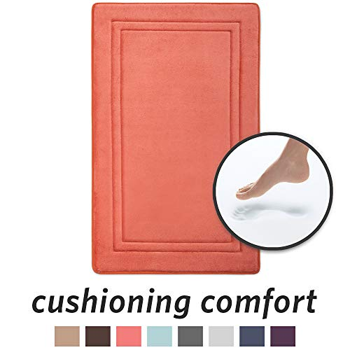 (MICRODRY Quick Drying Memory Foam Bath Mat with GripTex Skid-Resistant Base, 21x34, Coral)