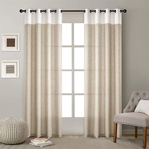 LoyoLady Private Custom Beige and White Two Tone Linen Thermal Insulated Grommet Top Curtains, Single Panel Sales