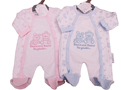 Tiny Baby BNWT Premature Teddy Twin Pack Sleepsuits in Blue