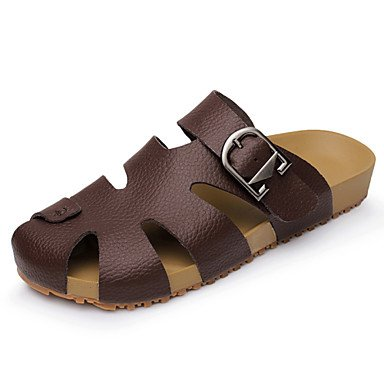 Sandalias de verano zapatos de hombre exterior / Casual Zapatillas de cuero / Slip-on marrón / Amarillo / Blanco Brown