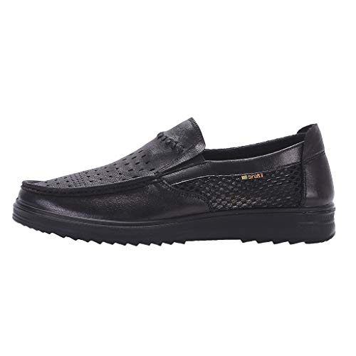 iHPH7 Boat Shoe Authentic Original Mesh Shoes Loose and Comfortable Dad Shoes Business Thick Casual Shoes Men (47,Black)
