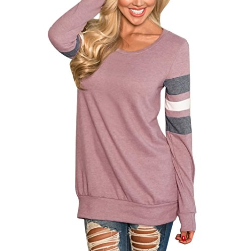 WILLTOO Women Pullover Tops O-Neck Long Sleeve Pink Blouse Long Tees Shirt (Pink, L)