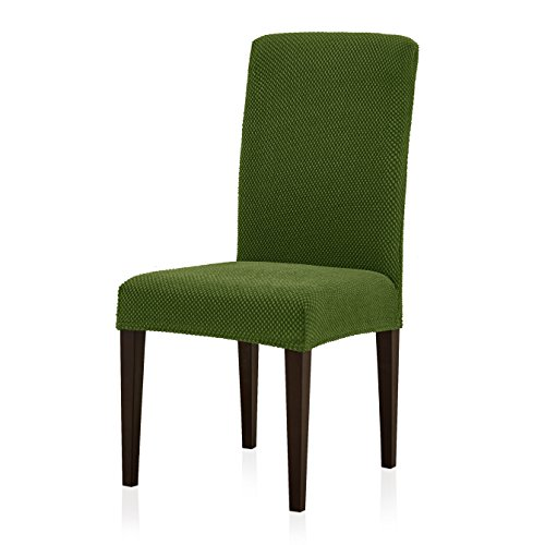 Subrtex Jacquard Dining Room Chair Slipcovers Sets Stretch Furniture Protector Covers for Armchair Removable Washable Elastic Parsons Seat Case for Restaurant Hotel Ceremony, 4 Pieces, Green (Room Furniture Dining And Barrel Crate)