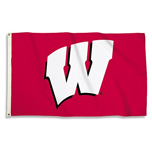 (NCAA Wisconsin Badgers 3 X 5 Foot Flag with Grommets, Red,)