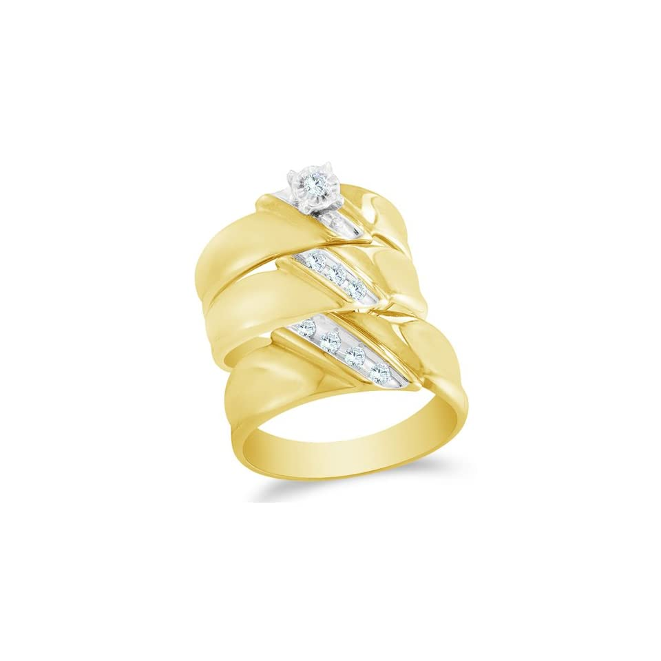 Size 13   10K Two Tone Gold Diamond Mens and Ladies Couple His & Hers Trio 3 Three Ring Bridal Matching Engagement Wedding Ring Band Set   ClassicSolitaire Setting w/ Diagonal Channel Set Round Diamonds   (1/5 cttw)   SEE PRODUCT DESCRIPTION TO CHOOSE BO