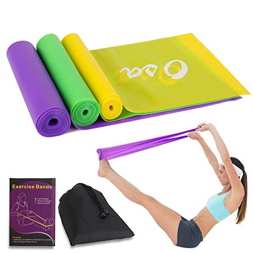 OSA Flat Exercise Bands Set of 3, Long Resistance Bands, Non-Latex Elastic Bands for Physical Therapy, Sport, Pilates, Stretch, Yoga, Strength Training – DiZiSports Store
