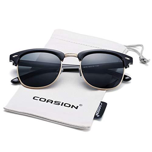 (COASION Retro Semi Rimless Polarized Clubmasters Sunglasses Classic Men Women Clear Glasses (Bright Black Frame/Black Lens))