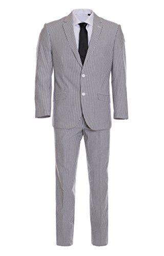 Men's Premium Slim Fit Black Pinstripe Cotton Seersucker Suit (42 Regular) Seersucker Zip Jacket