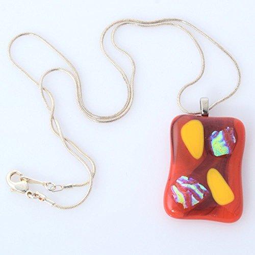 Handmade Millet Glass Designs Fused Glass Pendant Necklace Unique Artistic (Handmade Fused Glass Pendant)