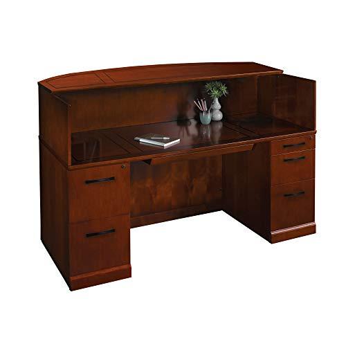 Pedestal Bourbon Cherry Desks - Mayline SRCDSCR Sorrento Reception Station Desk with Veneer Counter, 1 PBF and 1 FF Pedestal, Bourbon Cherry Veneer