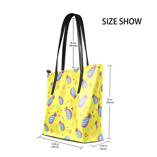 COOSUN gelbe Ananas Muster PU Leder Schultertasche Handtasche und Handtaschen Tasche für Frauen