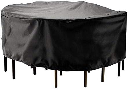 ETNLT ガーデン屋外カバーラウンドガーデンテーブルカバー 防水 円形パティオセットカバー、25サイズのカスタマイズ可能 家具カバー (Color : Black, Size : 150x90cm)
