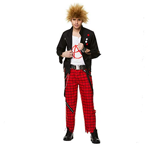 Punk Guy Costume - Halloween Mens Anarchist Rocker Rock Star Cosplay, XL