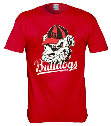 New World Graphics Georgia Bulldogs Vintage Distressed T Shirt - 3 Colors - Red, Black, Gray (Red, X-Large)