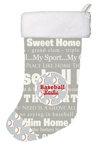 Carolines Treasures SB3153-CS Baseball Rocks Christmas Stocking Large Multicolor