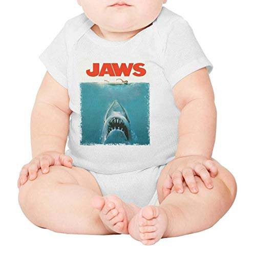 Jaws Film Poster Shark Baby Onesie White Romper Short Sleeve Cotton Rompers