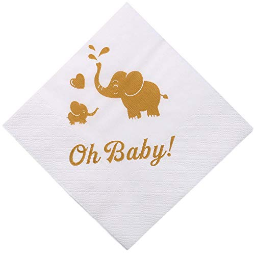 100 Baby Shower Oh Baby Napkins, Cocktail Beverage Napkins for Boy Girl Kids Birthday, Elephant Safari Animal Gold Color Printing White Paper for Sprinkle, Gender Reveal Party ()