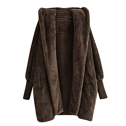 Shusuen ◈ Outwear for Women Solid Casual Hooded Fleece Sweatshirt Winter Warm Plush Pockets Coat (Rack Rick Vintage)