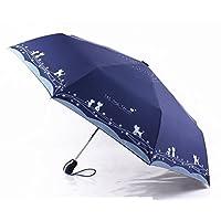 Katoot@ Cute cat and Flower Three-Folding Automatic Umbrella rain Sun Women Black Coating plegable Windproof paraguas Mujer