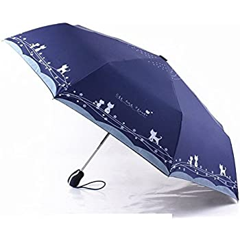 Katoot@ Cute cat and flower three-folding automatic umbrella rain sun women black coating plegable windproof paraguas mujer high quality (Dark Blue)