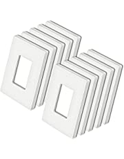 [10 Pack] BESTTEN 1-Gang Modern Designer Mid Size Screwless Wall Plate, Unbreakable Polycarbonate Midway Decorator Outlet Cover, USWP4 White Series, 12.30cm x 7.87cm, Impact Resistant Switch Plate