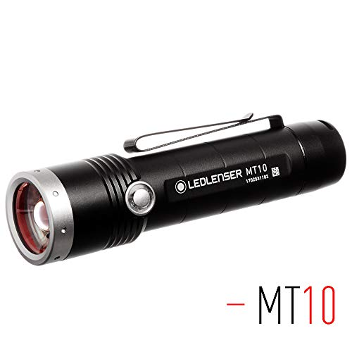 Ledlenser - MT10 Rechargeable Handheld Flashlight, High Power LED, 1000 Lumens, Lanyard and Sheath, Outdoor Series, Backpacking, Hiking, Camping