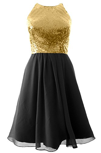 MACloth Vintage Halter Short Bridesmaid Dress Sequin Chiffon Party Formal Gown Champagne-Black
