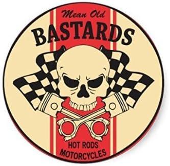 2 X Mean Old Bastard Vintage Sticker Ratlock Oldschool Decal Harley Tuning Aufkleber Sticker Auto Motorrad Roller Auto
