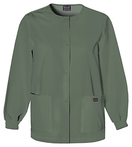Cherokee Women's Traditional Snap Front Warm-Up Jacket_Olive_XXX-Large,4350