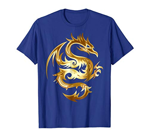 Mens Shiny Gold Tribal Dragon T-Shirt Abstract Monster Shirt Small Royal Blue