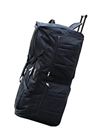 """ICE CANADA 42"""" 42-inch Wheeled Duffle Bag Cargo Outdoor Mountain Hockey Bag Strong Black Heavy Duty Extra Large XXL Size huge oversized bags (Black)"""