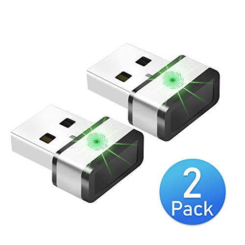 Mini USB Fingerprint Reader for Windows 7,8 & 10 Hello, PQI My Lockey 360° Touch Speedy Matching Multi Biometric fido Security Key - Website Login, Windows Login, File Encryption and More (Dual Packs)